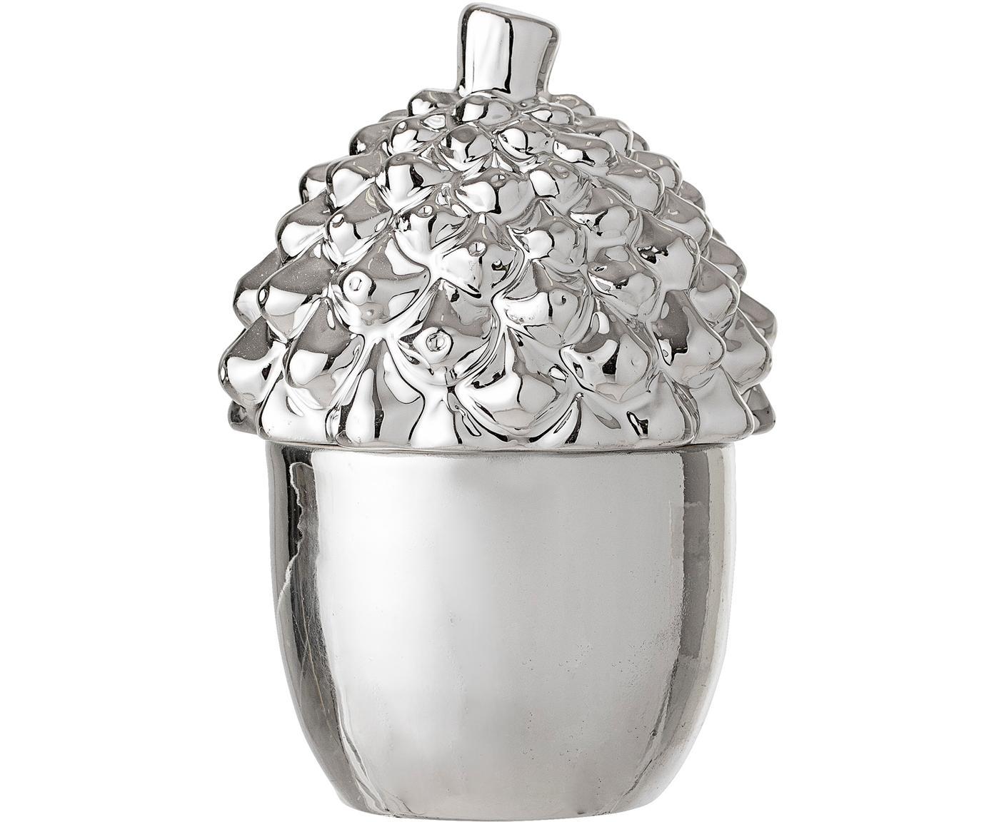 Aufbewahrungsdose Pinecone, Steingut, Silberfarben, Ø 8 x H 12 cm