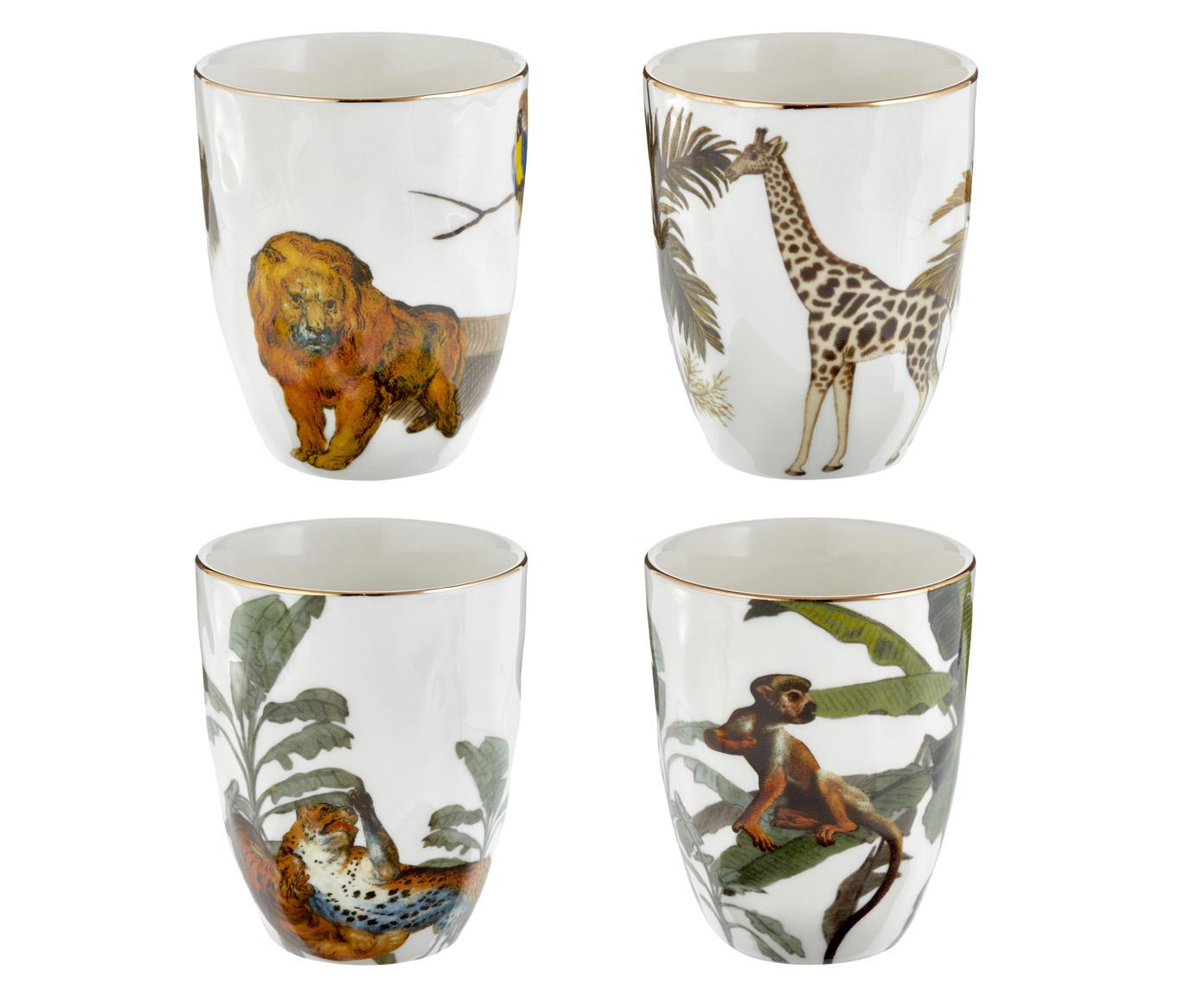 Set de tazas Animaux, 4pzas., Porcelana, Multicolor, Ø 8 x Al 10 cm