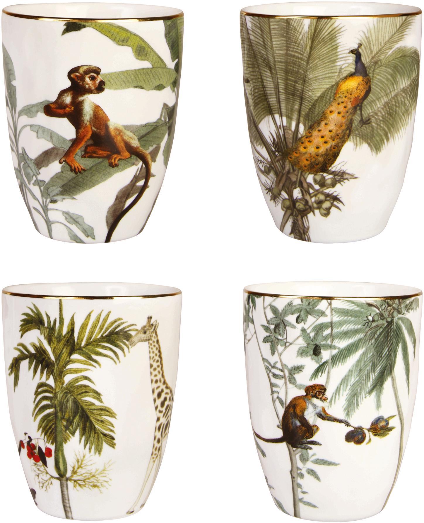 Set 4 tazze con bordo dorato e motivi tropicali Animaux, Porcellana, Multicolore, Ø 8 x Alt. 10 cm