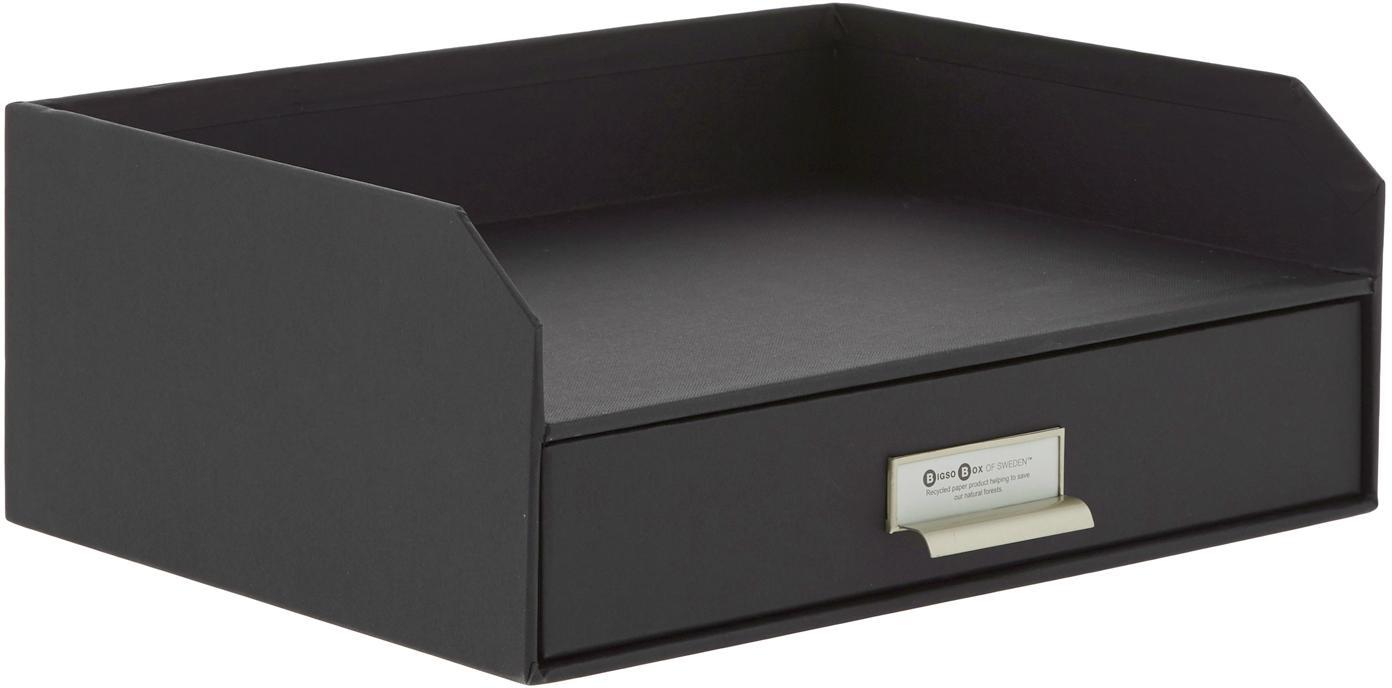 Organizador de escritorioWalter, Organizador: cartón laminado, Negro, An 33 x Al 13 cm