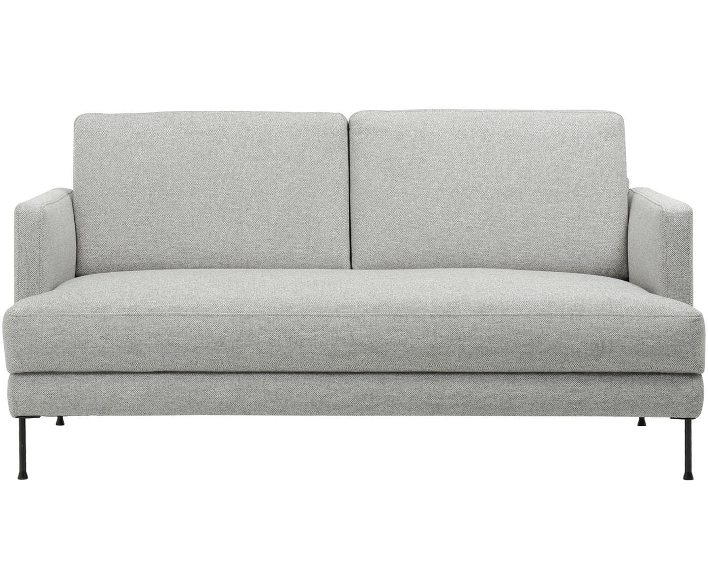 Sofa Fluente (2-osobowa), Tapicerka: poliester Tkanina o odpor, Stelaż: drewno naturalne, Nogi: metal lakierowany, Jasny szary, S 168 x W 85 cm