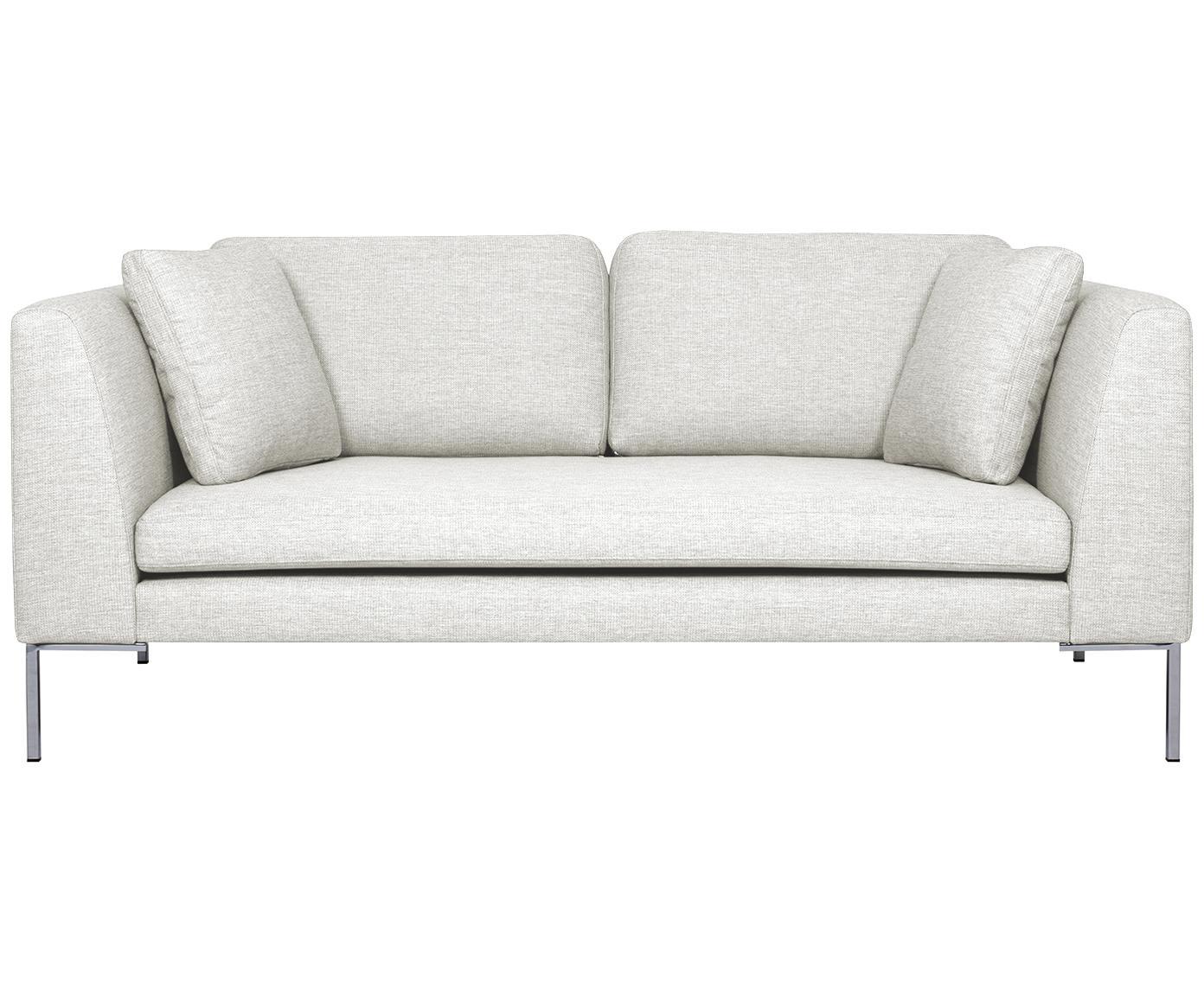 Sofa Emma (2-Sitzer), Bezug: Polyester 100.000 Scheuer, Gestell: Massives Kiefernholz, Füße: Metall, galvanisiert, Webstoff Cremeweiß, Füße Silber, B 194 x T 100 cm