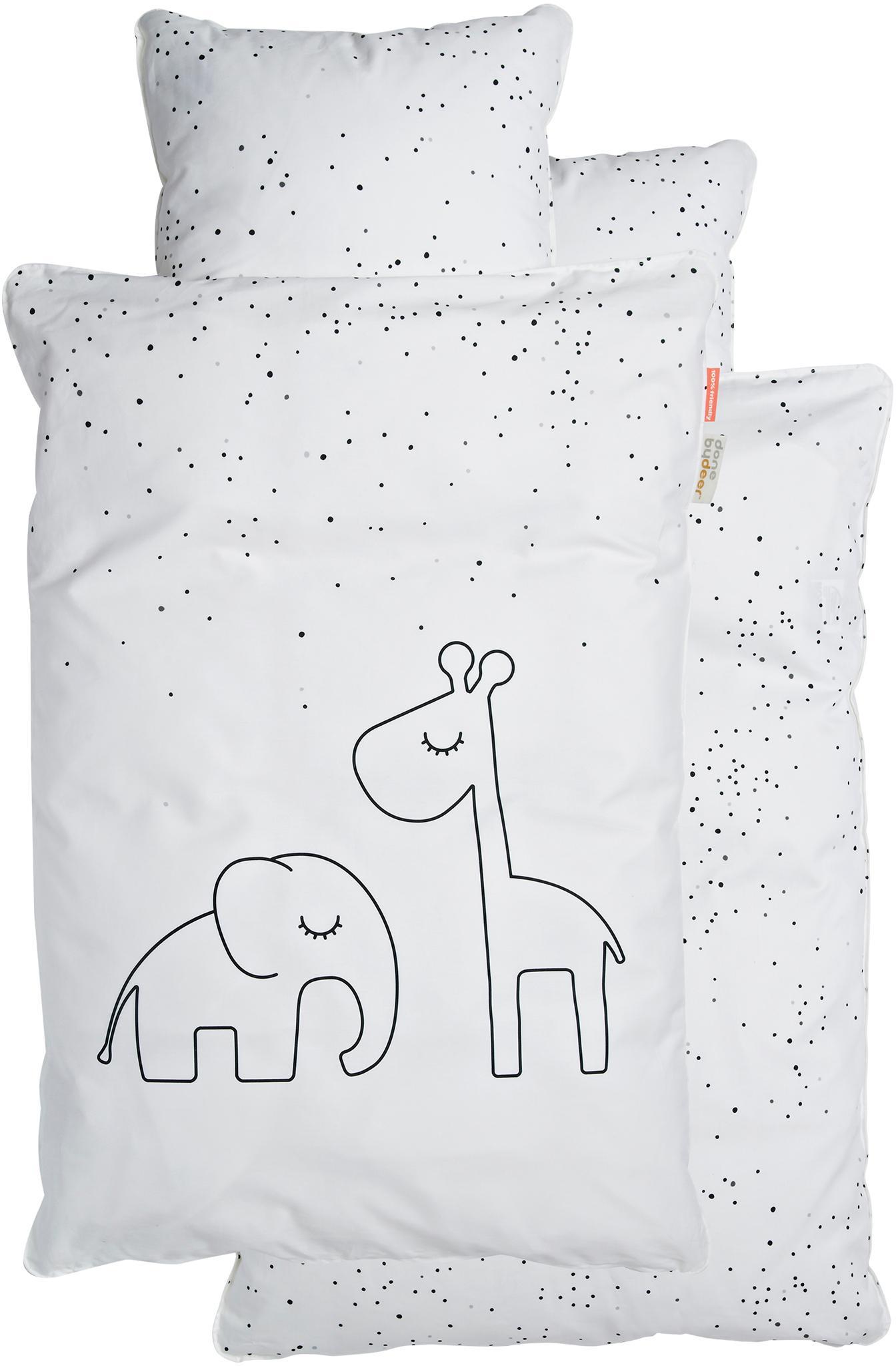 Pościel Dreamy Dots, 100% bawełna, certyfikat Oeko-Tex, Szary, 100 x 140 cm + 1 poduszka 40 x 60 cm