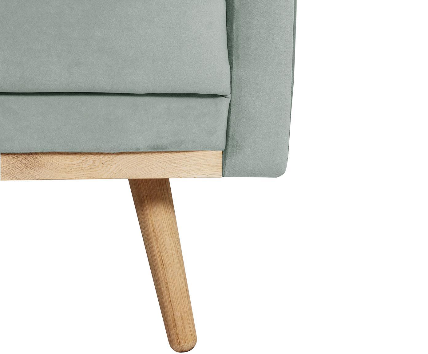 Samt-Ecksofa Saint (3-Sitzer), Bezug: Samt (Polyester) Der hoch, Gestell: Massives Eichenholz, Span, Samt Salbeifarben, B 243 x T 220 cm