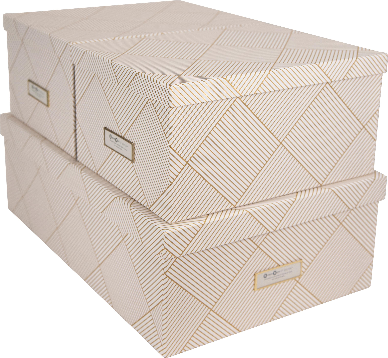 Opbergdozenset Inge, 3-delig, Doos: stevig, gelamineerd karto, Goudkleurig, wit, Verschillende formaten