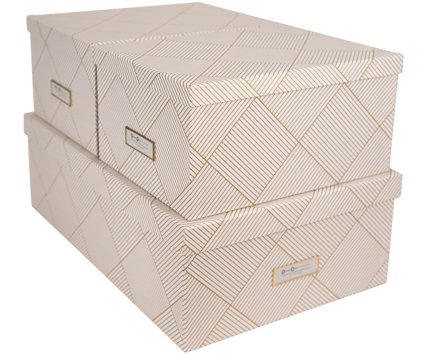 Set 3 scatole Inge, Scatola: solido cartone laminato, Dorato , bianco, Diverse dimensioni