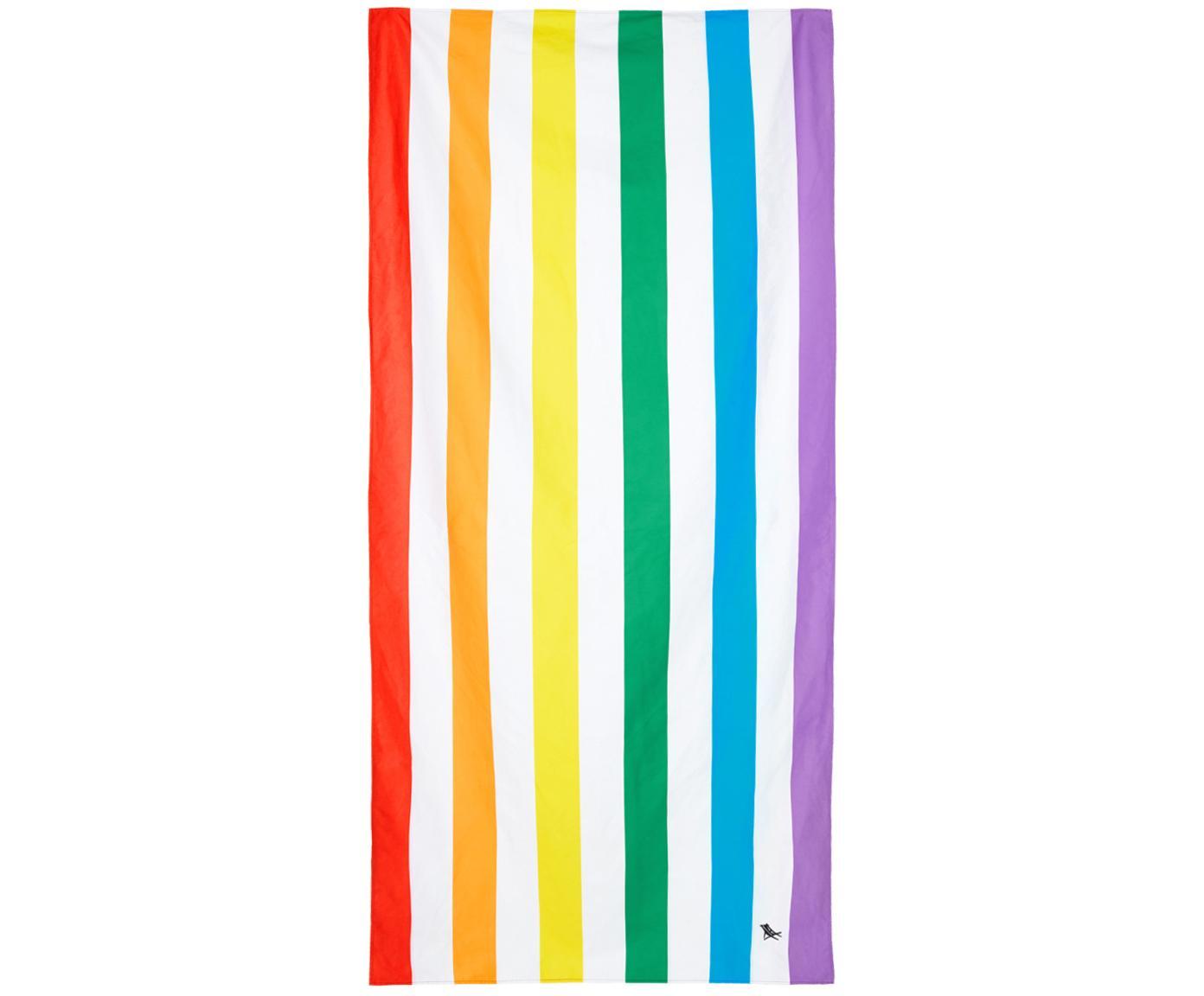 Szybkoschnący ręcznik plażowy z mikrofibry Summer, Mikrofibra (80% poliester, 20% poliamid), Wielobarwny, biały, S 90 x D 200 cm