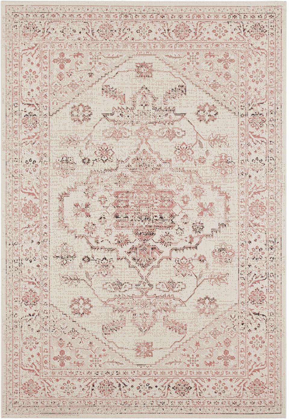 In- & outdoor vloerkleed Navarino rood in vintage look, Polypropyleen, Crèmekleurig, roze, B 200 x L 290 cm (maat L)