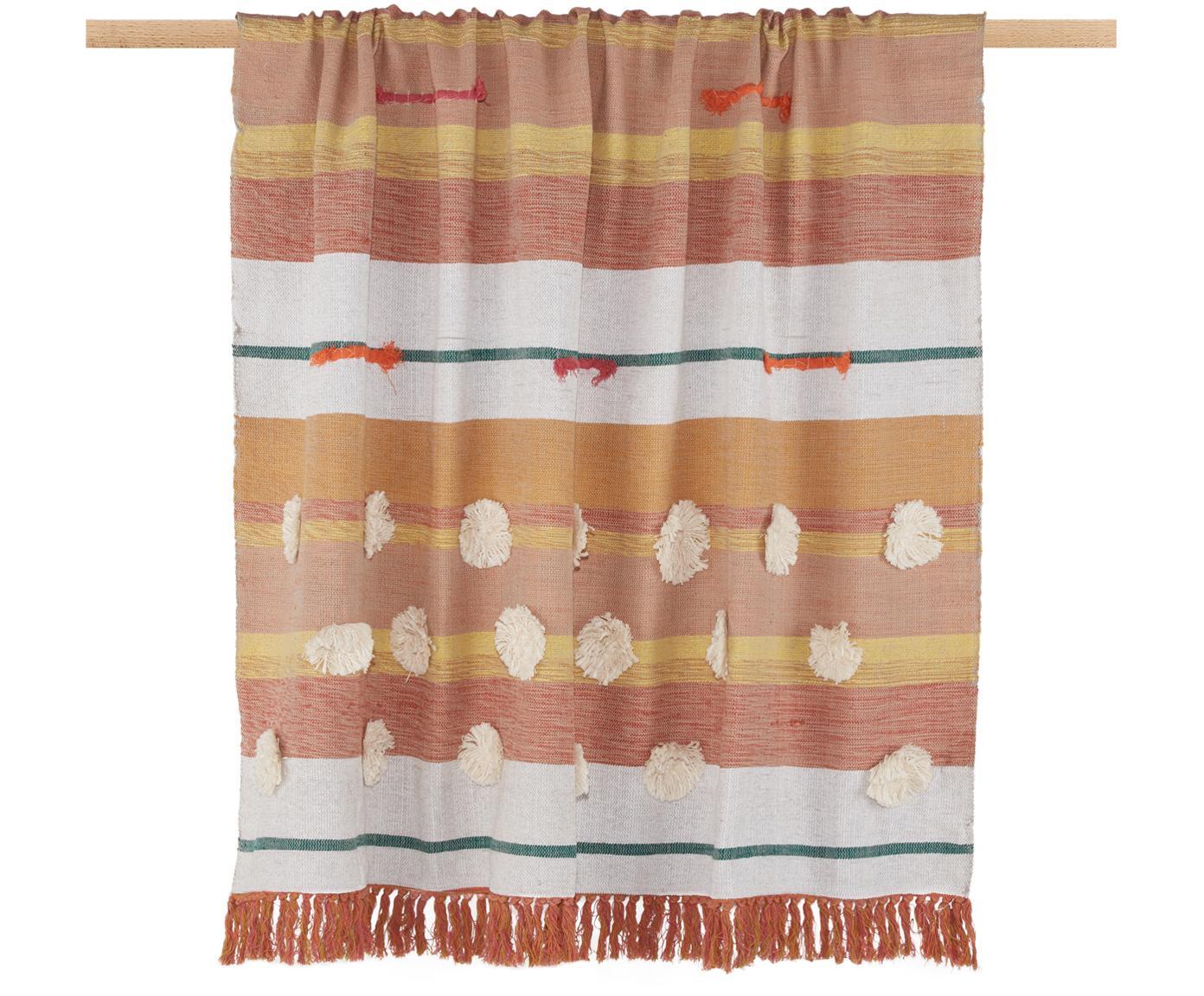 Plaid in cotone Madeline, 100% cotone, Giallo, tonalità rosa, bianco, verde, Larg. 130 x Lung. 170 cm