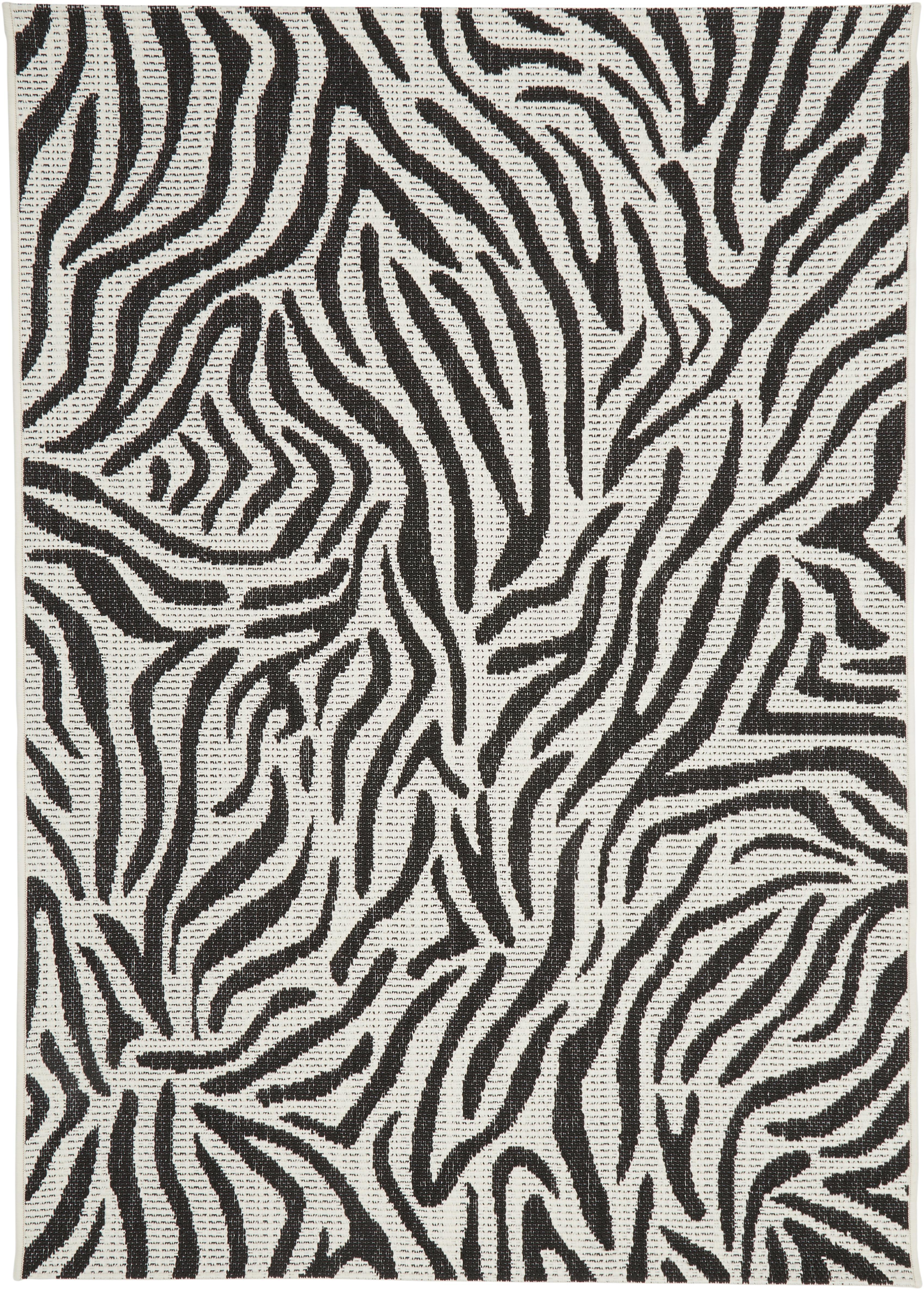 Alfombra de interior/exterior Exotic, Parte superior: polipropileno, Reverso: poliéster, Blanco crema, negro, An 200 x L 290 cm (Tamaño L)