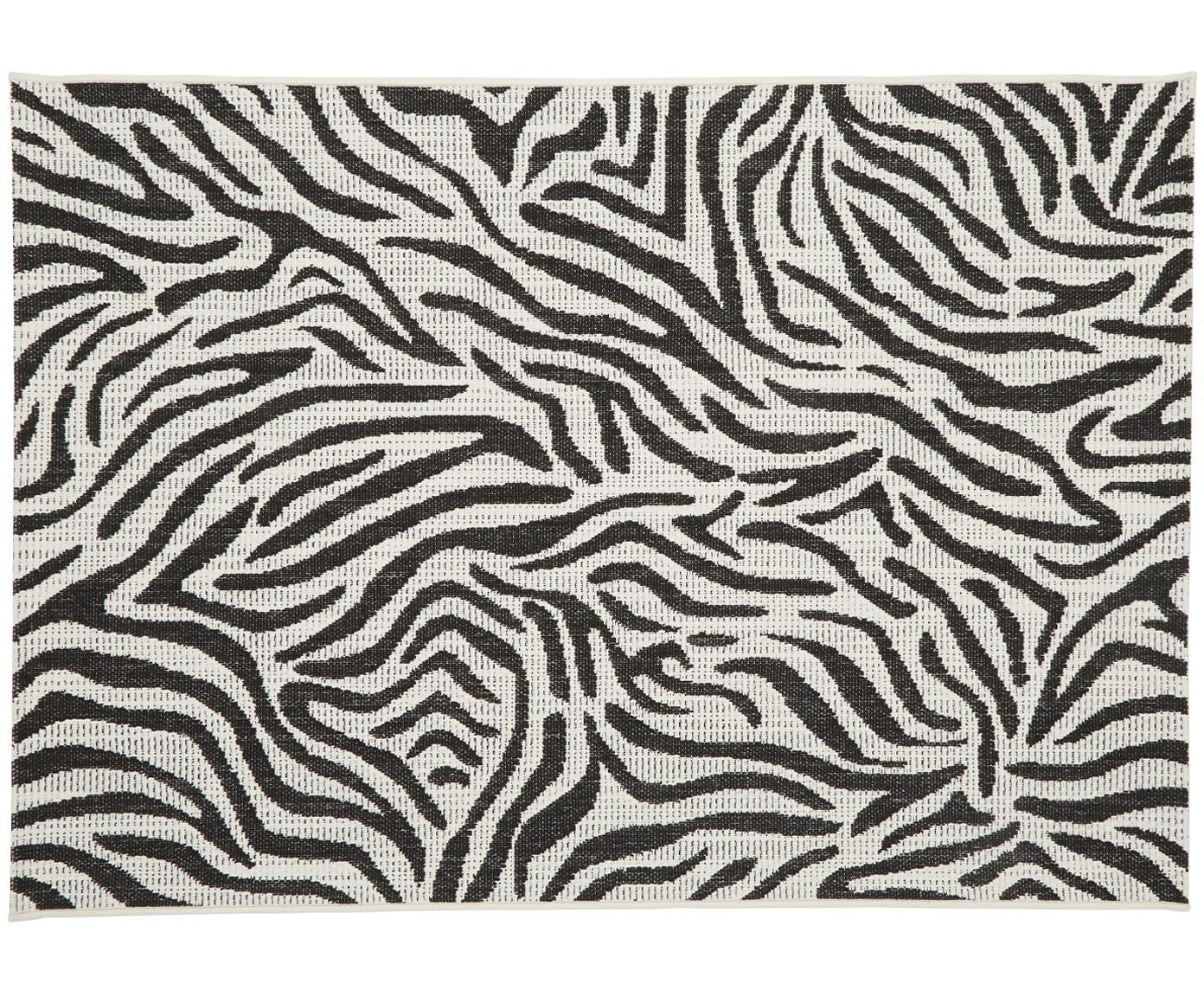 In- & outdoor vloerkleed Exotic, Bovenzijde: polypropyleen, Onderzijde: polyester, Crèmewit, zwart, B 120 x L 170 cm (maat S)