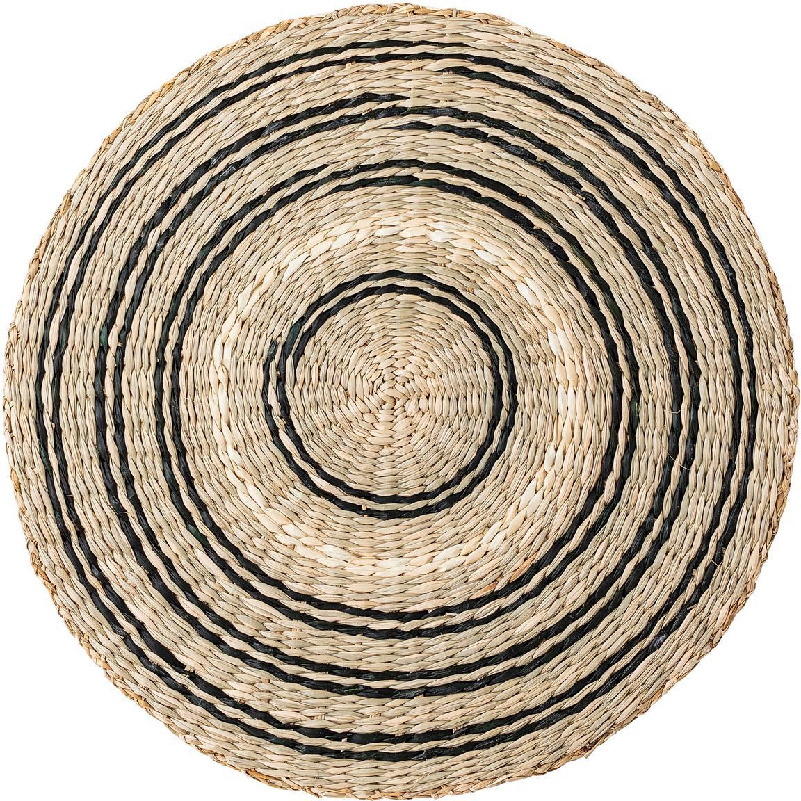 Rundes Seegras-Tischset Kama, Seegras, Beige, Weiß, Schwarz, Ø 38 cm