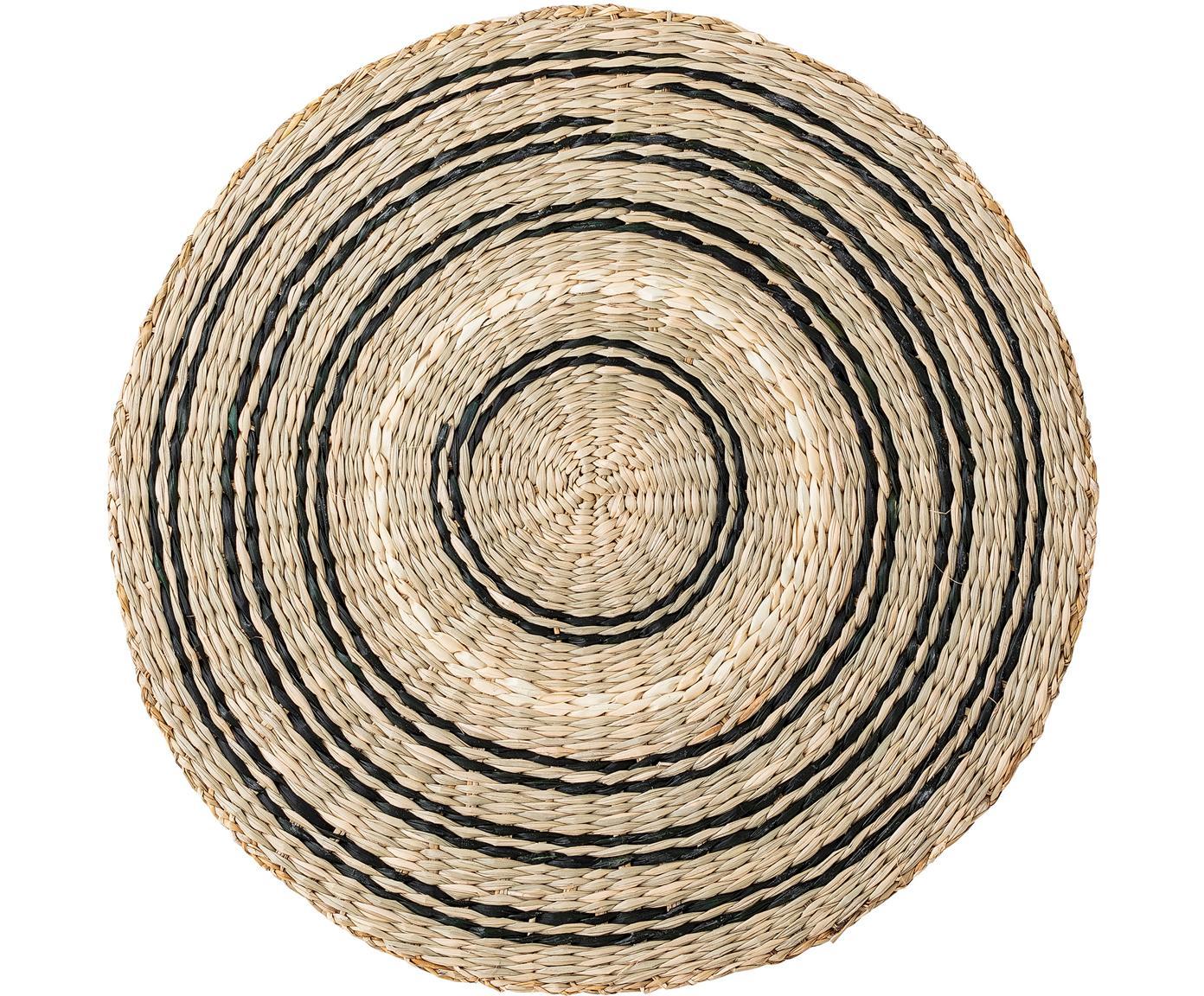 Rundes Seegras-Tischset Kama, Seegras, Beige, Weiss, Schwarz, Ø 38 cm