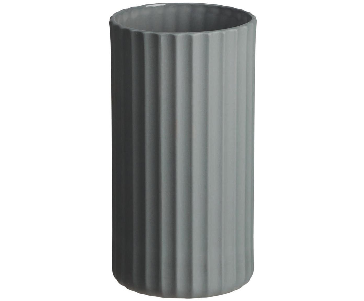 Handgefertigte Vase Yoko aus Porzellan, Porzellan, Grau, Ø 9 x H 16 cm