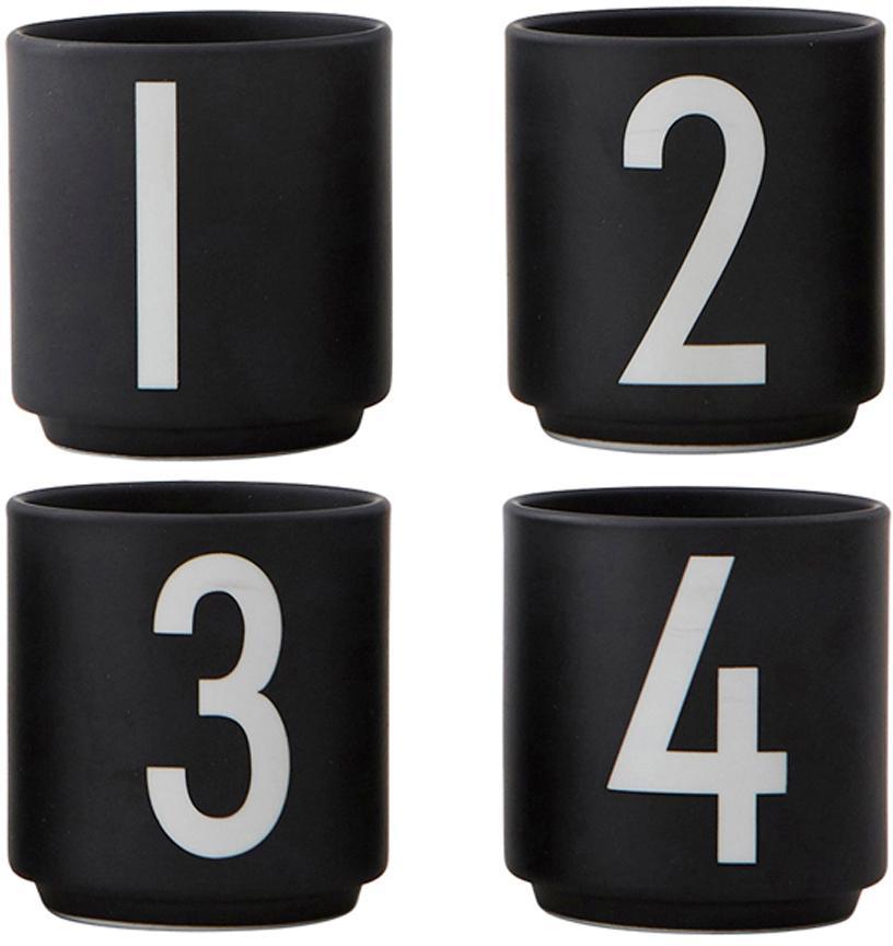 Set 4 tazze di design 1234, Fine Bone China (porcellana) Fine bone china è una porcellana a pasta morbida particolarmente caratterizzata dalla sua lucentezza radiosa e traslucida, Nero, bianco, Ø 5 x Alt. 6 cm