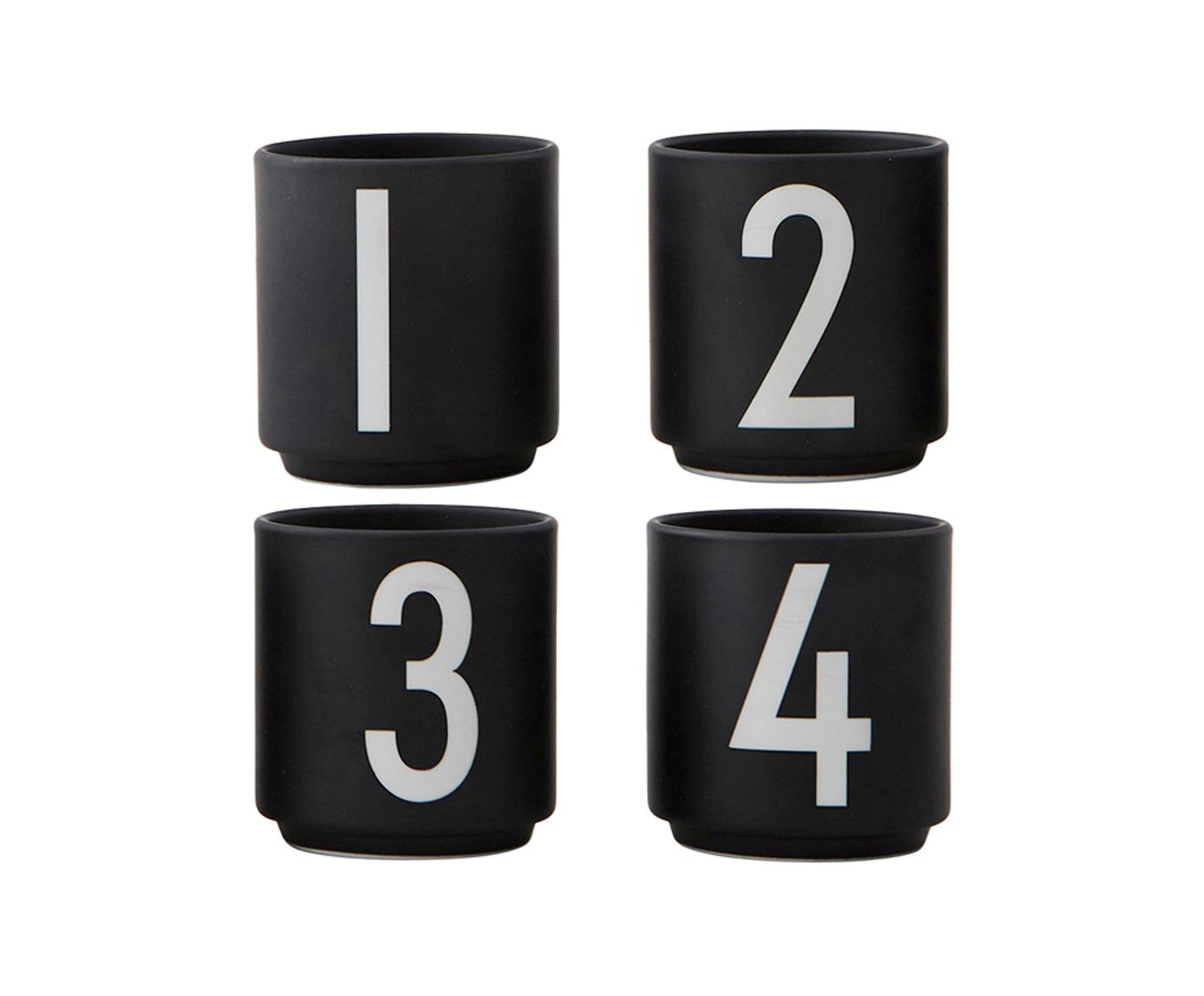 Design Espressobecher 1234 mit Zahlen, 4er-Set, Fine Bone China, Schwarz, Weiß, Ø 5 x H 6 cm