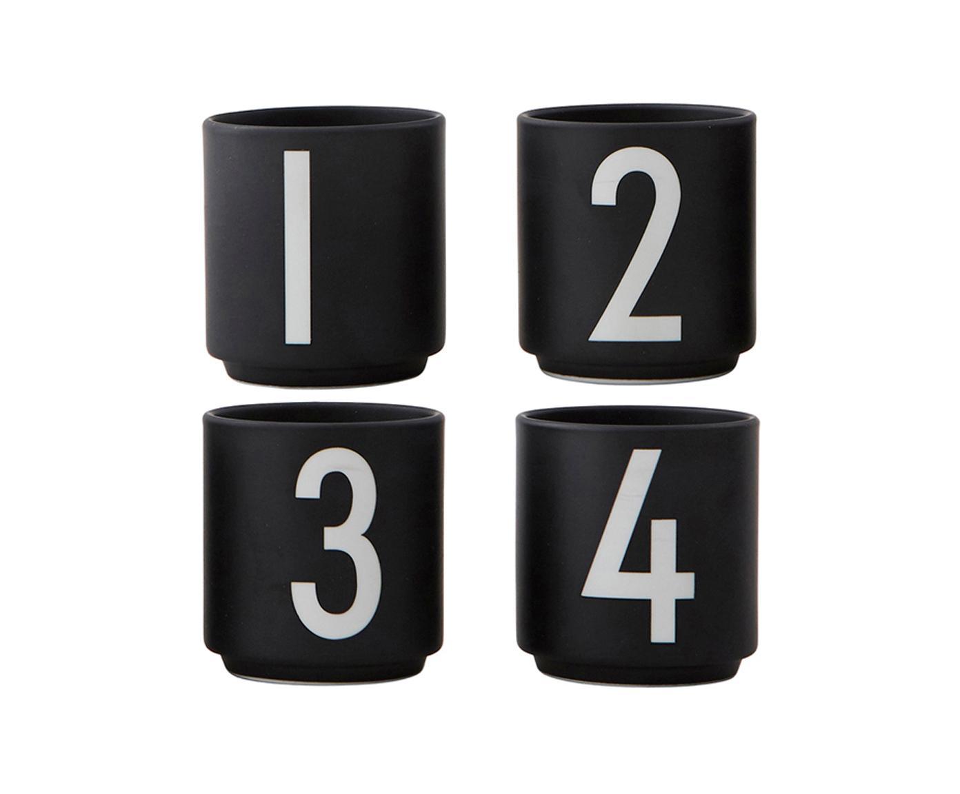 Espressobekerset 1234, 4 delig, Beenderporselein, Zwart, wit, Ø 5 x H 6 cm