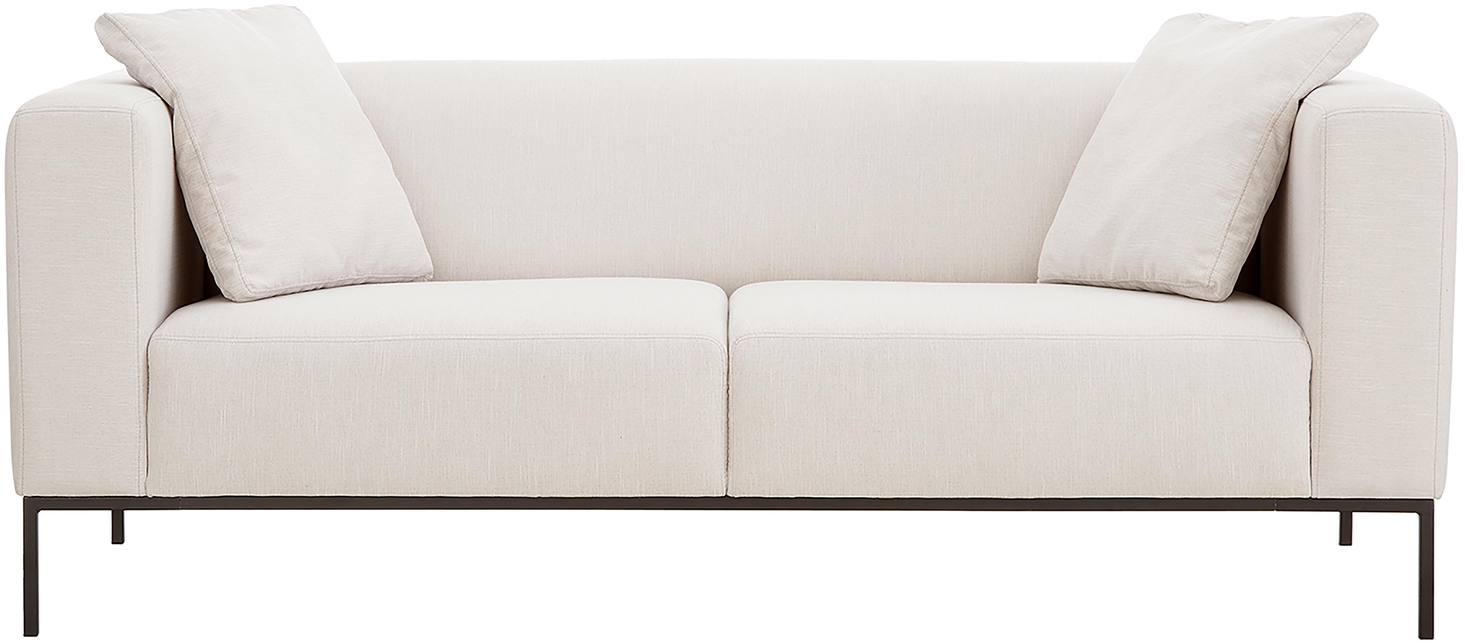 Bank Carrie (3-zits), Bekleding: polyester, Frame: spaanplaat, hardboard, mu, Poten: gelakt metaal, Geweven stof beige, B 202 x D 86 cm