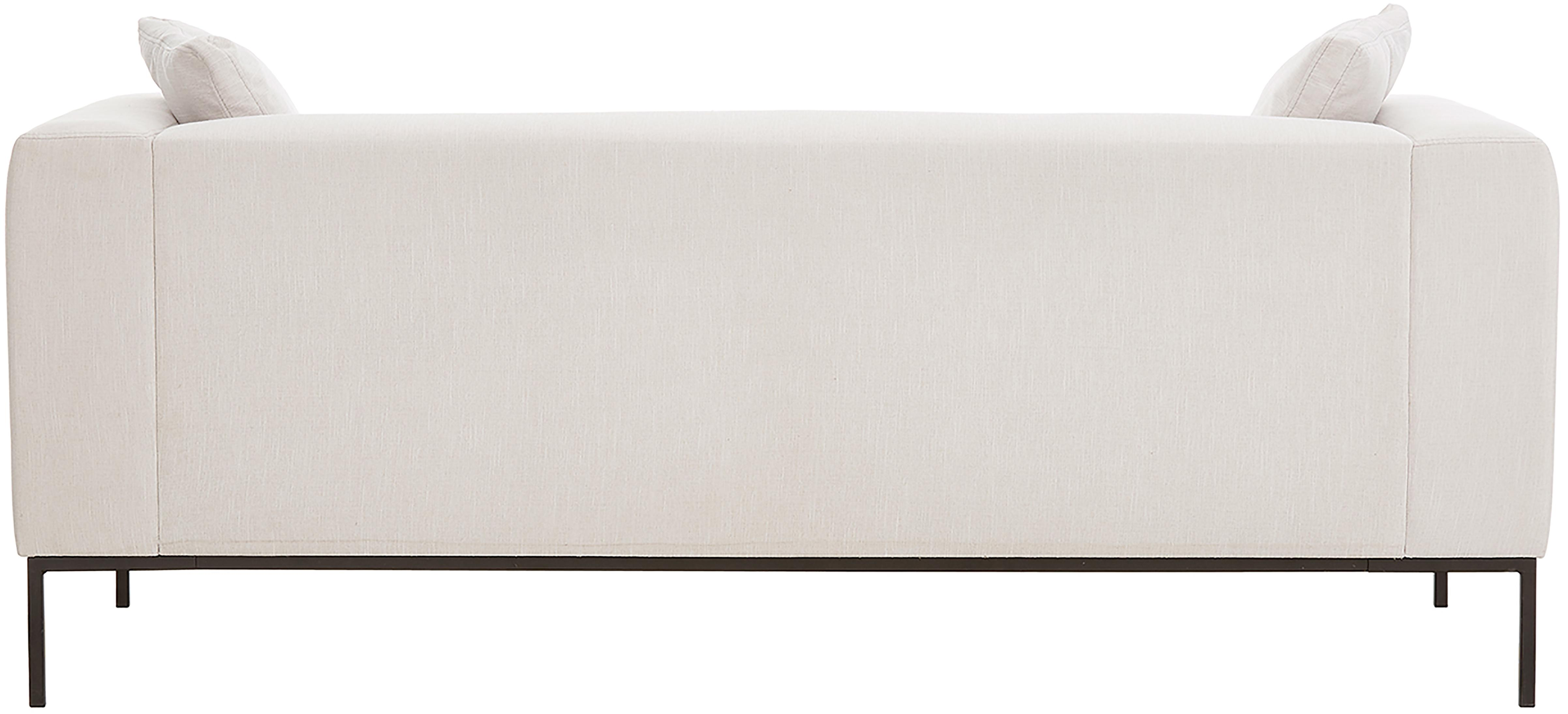 Sofa Carrie (3-Sitzer), Bezug: Polyester 50.000 Scheuert, Gestell: Spanholz, Hartfaserplatte, Füße: Metall, lackiert, Webstoff Beige, B 202 x T 86 cm