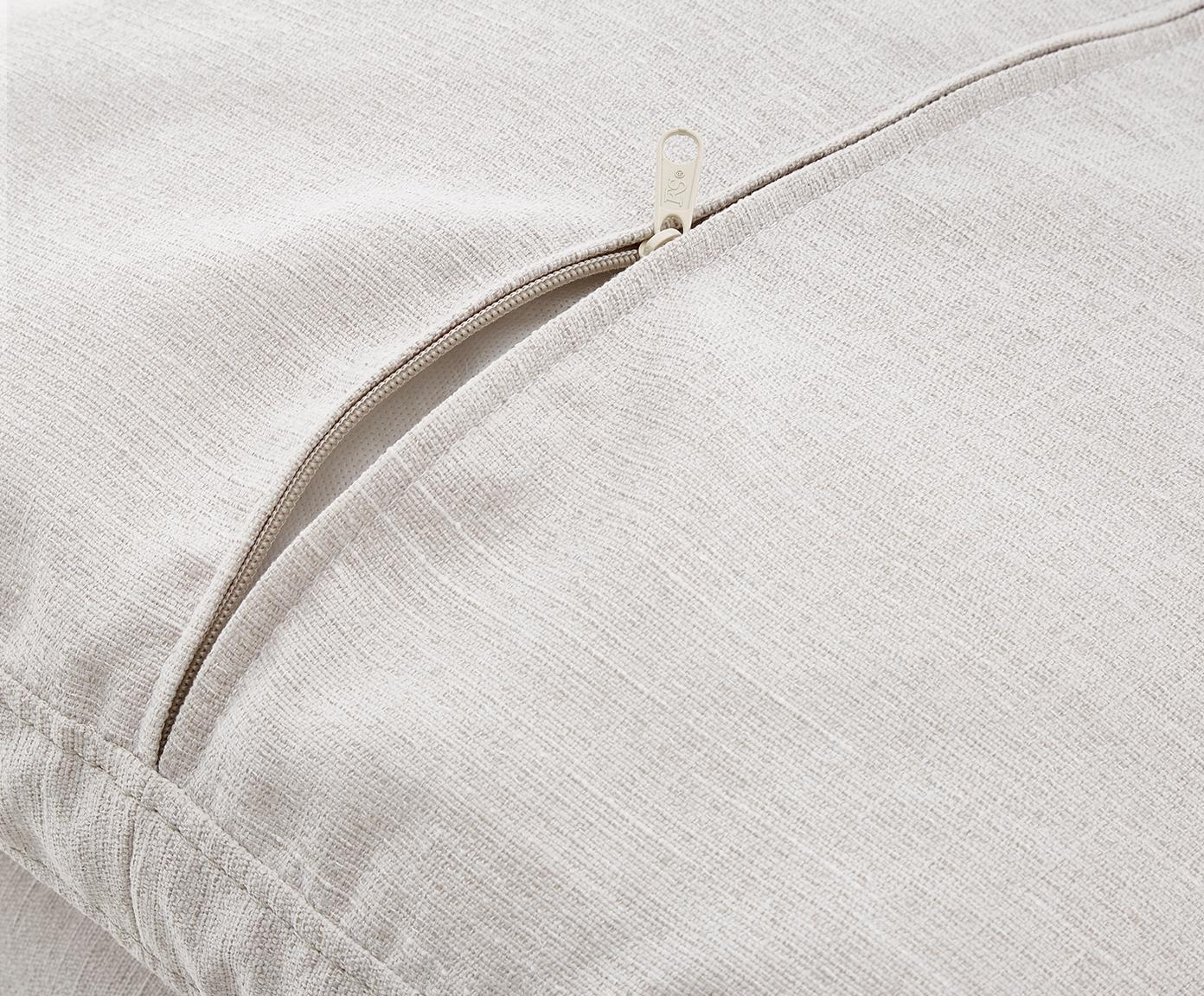 Bank Carrie (3-zits), Bekleding: polyester, Frame: spaanplaat, hardboard, mu, Poten: gelakt metaal, Webstoff Beige, B 202 x D 86 cm