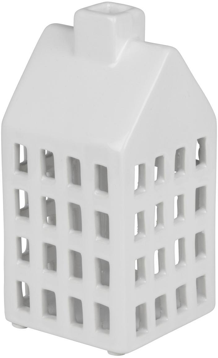 Teelichthalter Hemma, Keramik, Weiß, 8 x 16 cm