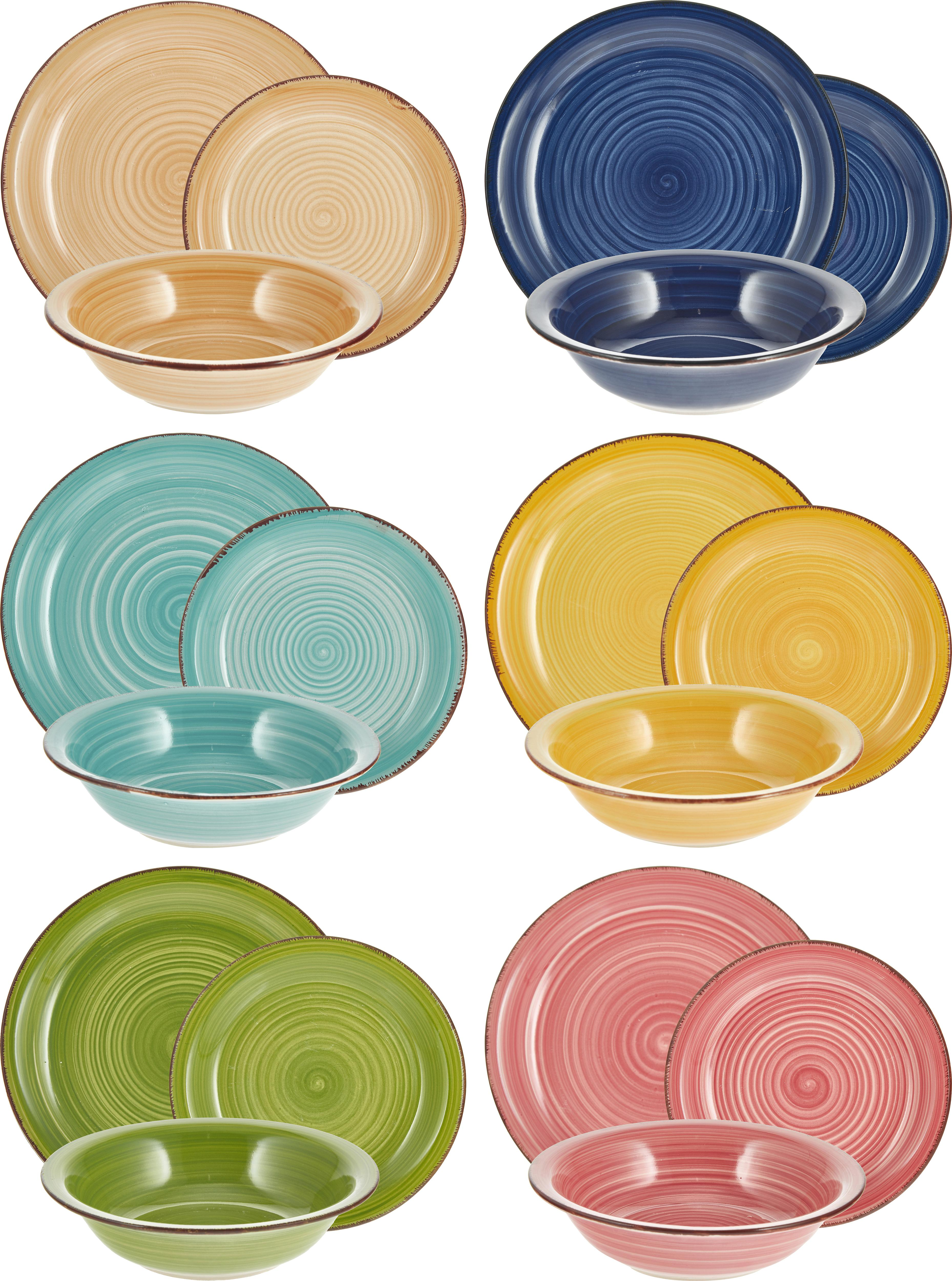 Vajilla artesanal Baita, 6comensales (18pzas.), Gres (dolomita) pintadoamano, Azul oscuro, rojo, verde, turquesa, amarillo, naranja claro, Tamaños diferentes