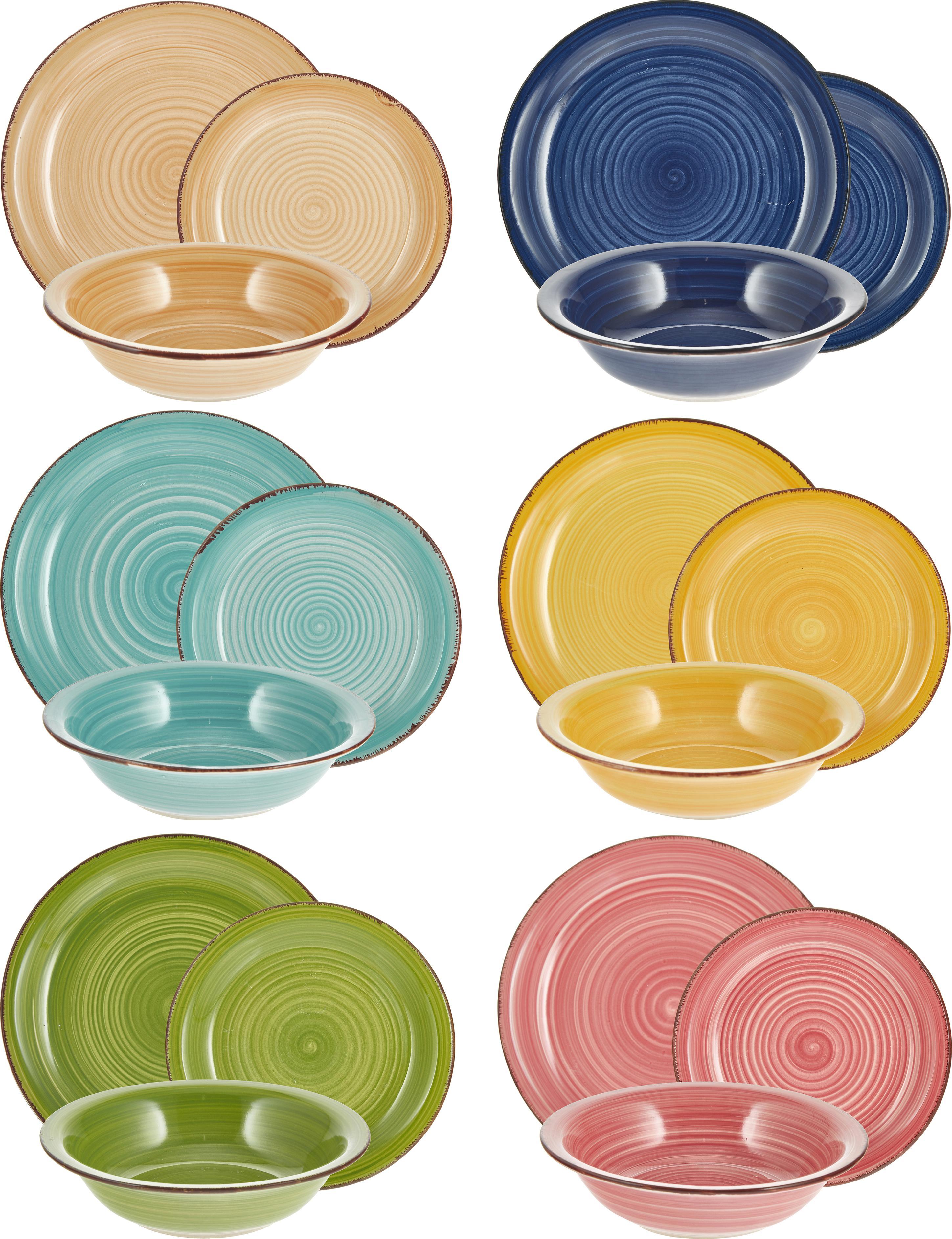 Vajilla artesanal Baita, 6comensales (18pzas.), Gres (dolomita) pintadoamano, Azul oscuro, rojo, verde, turquesa, amarillo, naranja claro, Set de diferentes tamaños