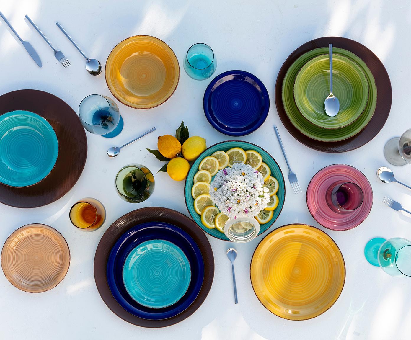 Komplet naczyń Baita, 18elem., Kamionka (twardy dolomit), ręcznie malowana, Ciemnyniebieski, czerwony, zielony, turkusowy, żółty, jasny pomarańczowy, Różne rozmiary
