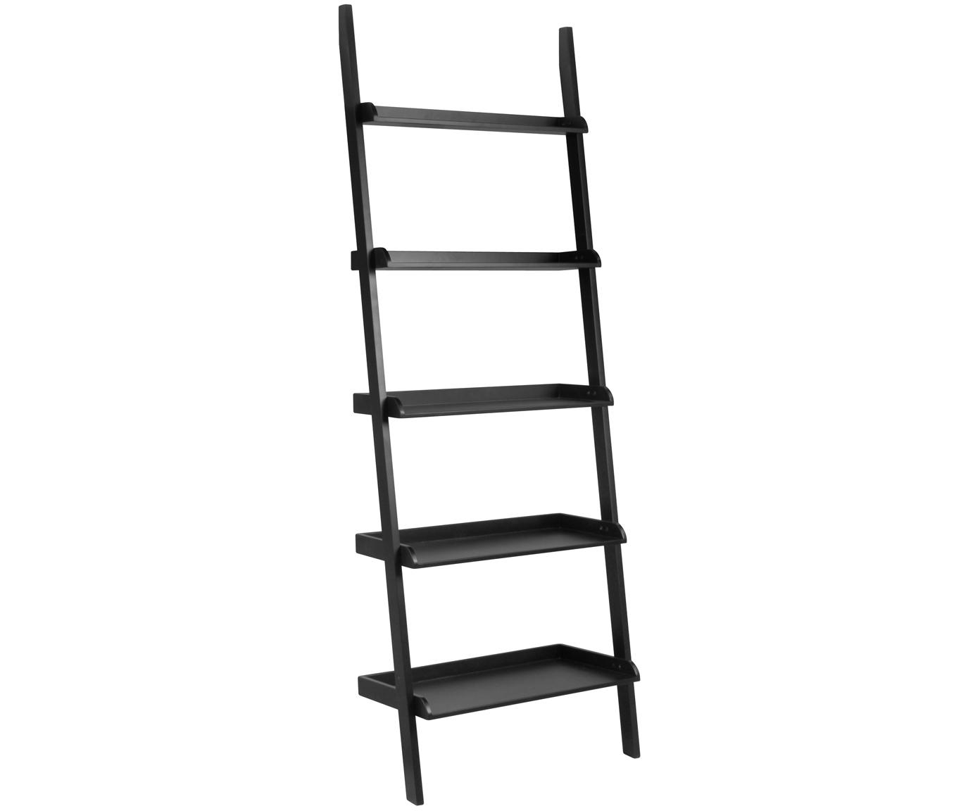 Ladder wandrek Wally in zwart, MDF, Zwart, 67 x 189 cm
