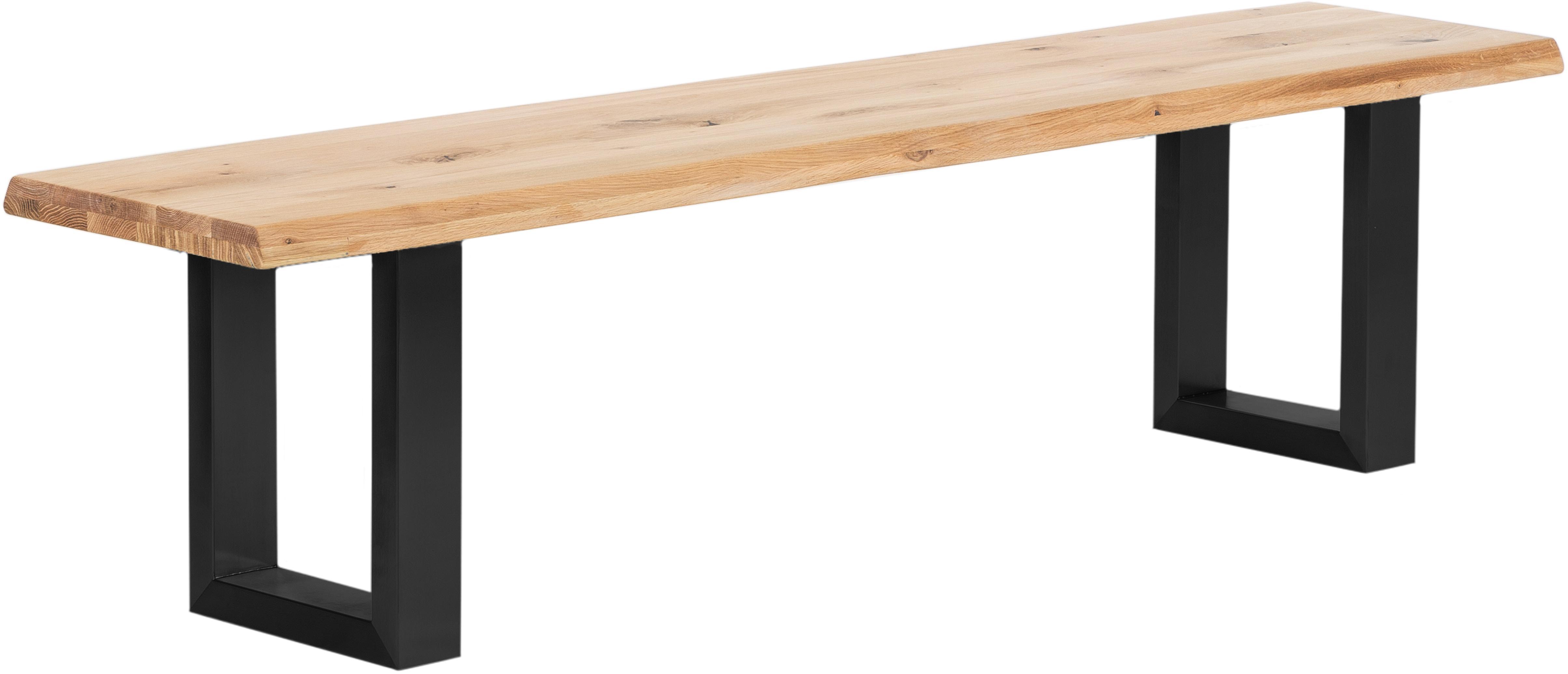 Sitzbank Oliver aus Eichenholz, Sitzfläche: Europäische Wildeiche, ma, Beine: Matt lackierter Stahl, Sitzfläche: Wildeiche, Beine: Schwarz, matt, 180 x 45 cm