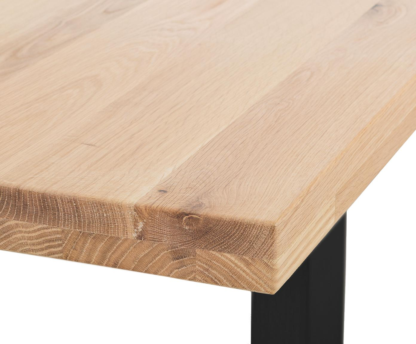 Bank Oliver, Zitvlak: geolied massief Europees , Poten: mat gelakt staal, Zitvlak: eikenhoutkleurig. Poten: mat zwart, 180 x 45 cm