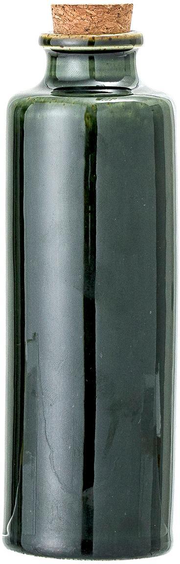 Handgemachte Essig- und Öl-Karaffe Joelle, luftdicht, Dose: Steingut, Deckel: Kork, Dunkelgrün, Ø 6 x H 18 cm