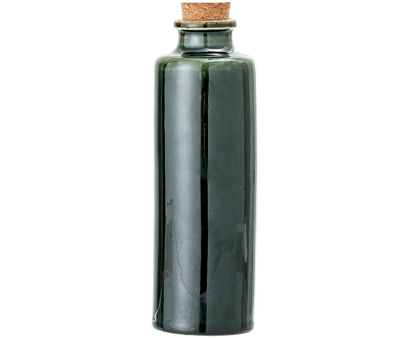 Handgemaakte azijn- en oliekaraf Joelle, Pot: keramiek, Donkergroen, Ø 6 x H 18 cm