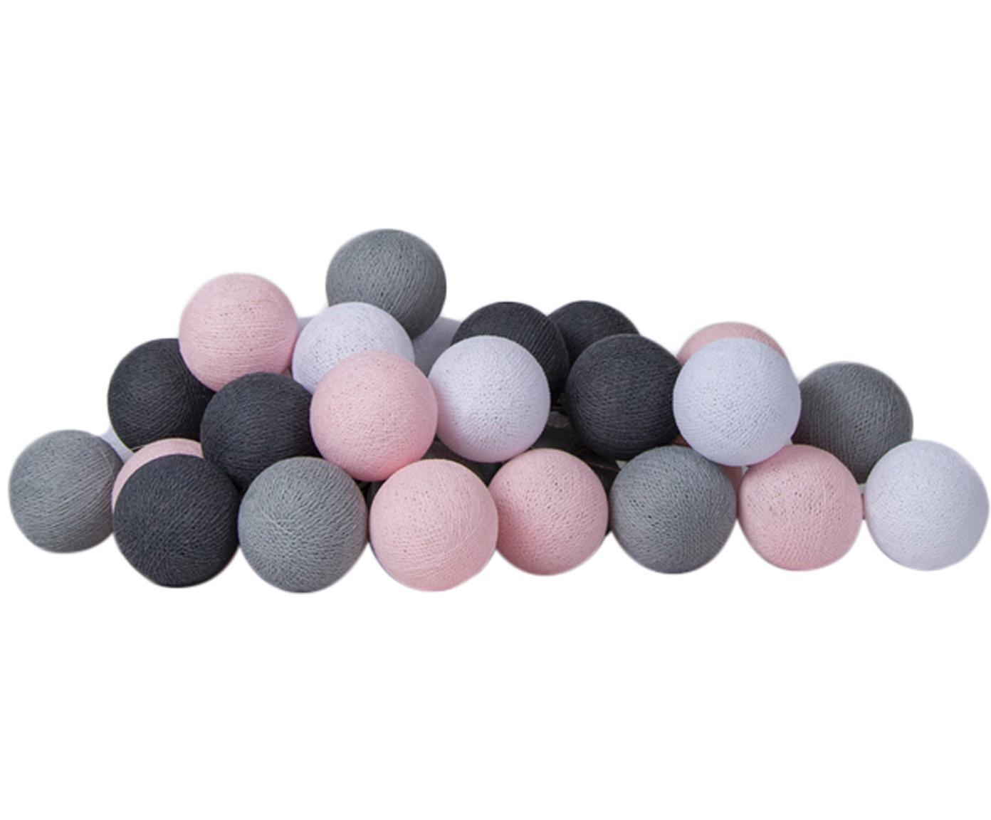LED Lichterkette Colorain, Lampions: Polyester, Rosa, Grautöne, L 264 cm