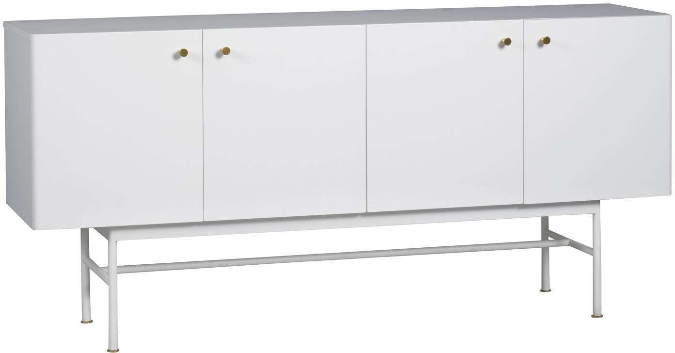 Design dressoir Glendale in wit, Frame: gelakt MDF, Eikenhout, wit, 160 x 75 cm