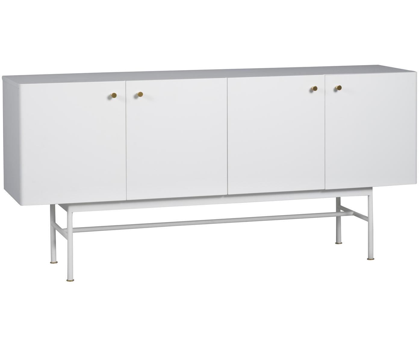 Credenza di design Glendale, Legno di quercia, bianco, Larg. 160 x Alt. 75 cm