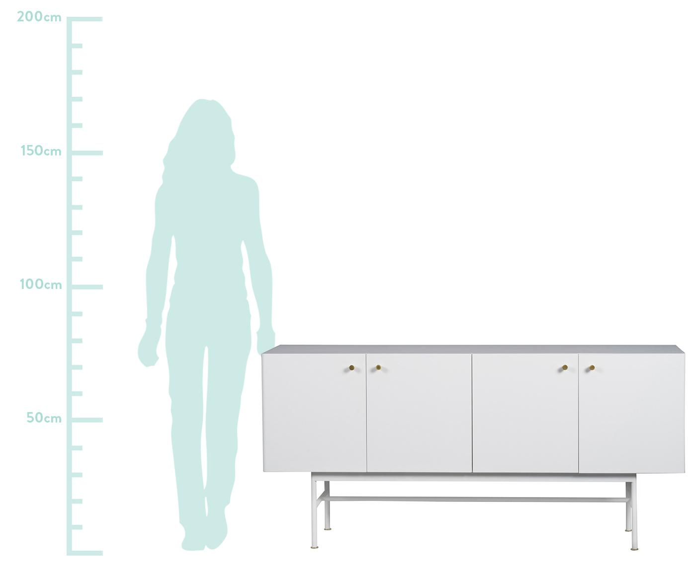 Komoda Glendale, Korpus: płyta pilśniowa średniej , Drewno dębowe, biały, S 160 x W 75 cm