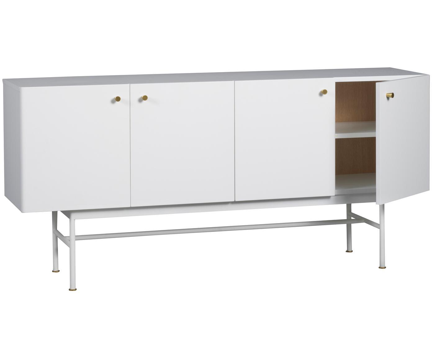 Design-Sideboard Glendale in Weiß, Korpus: Mitteldichte Holzfaserpla, Eichenholz, Weiß, 160 x 75 cm