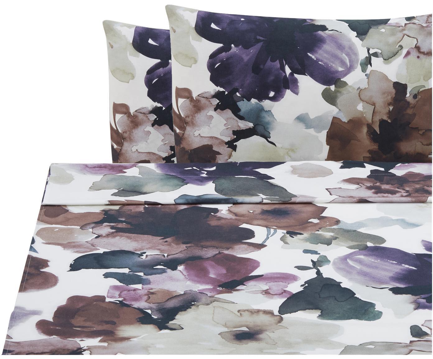 Set lenzuola in cotone ranforce Sunset Garden 3 pz, Tessuto: Renforcé, Bianco, multicolore, 240 x 270 cm
