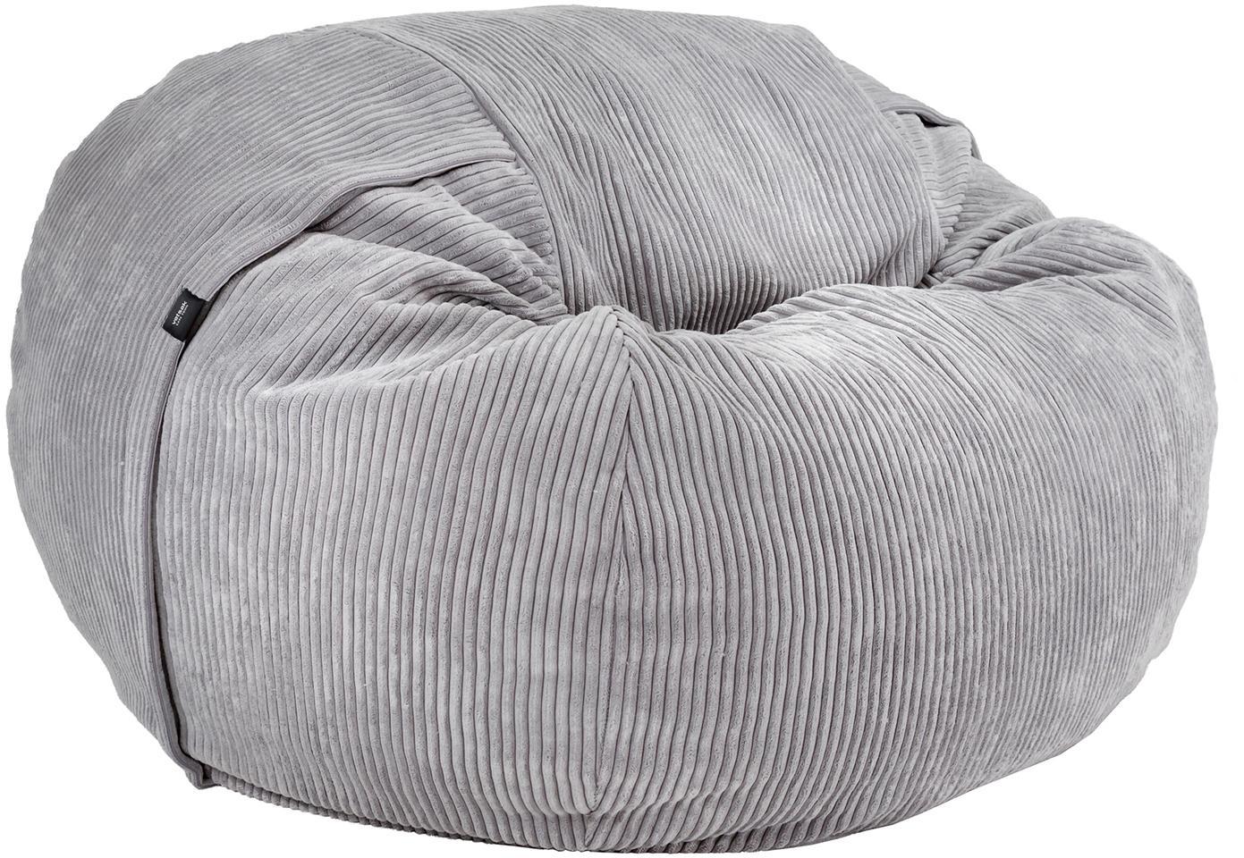 Cord-Sitzsack Velours, Bezug: 88% Nylon, 12% Polyester , Hellgrau, Ø 110 x H 70 cm