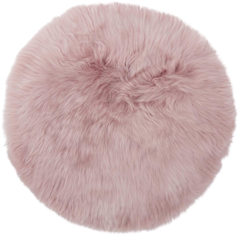 Zitkussen van schapenvacht Oslo, glad, Roze, Ø 37 cm