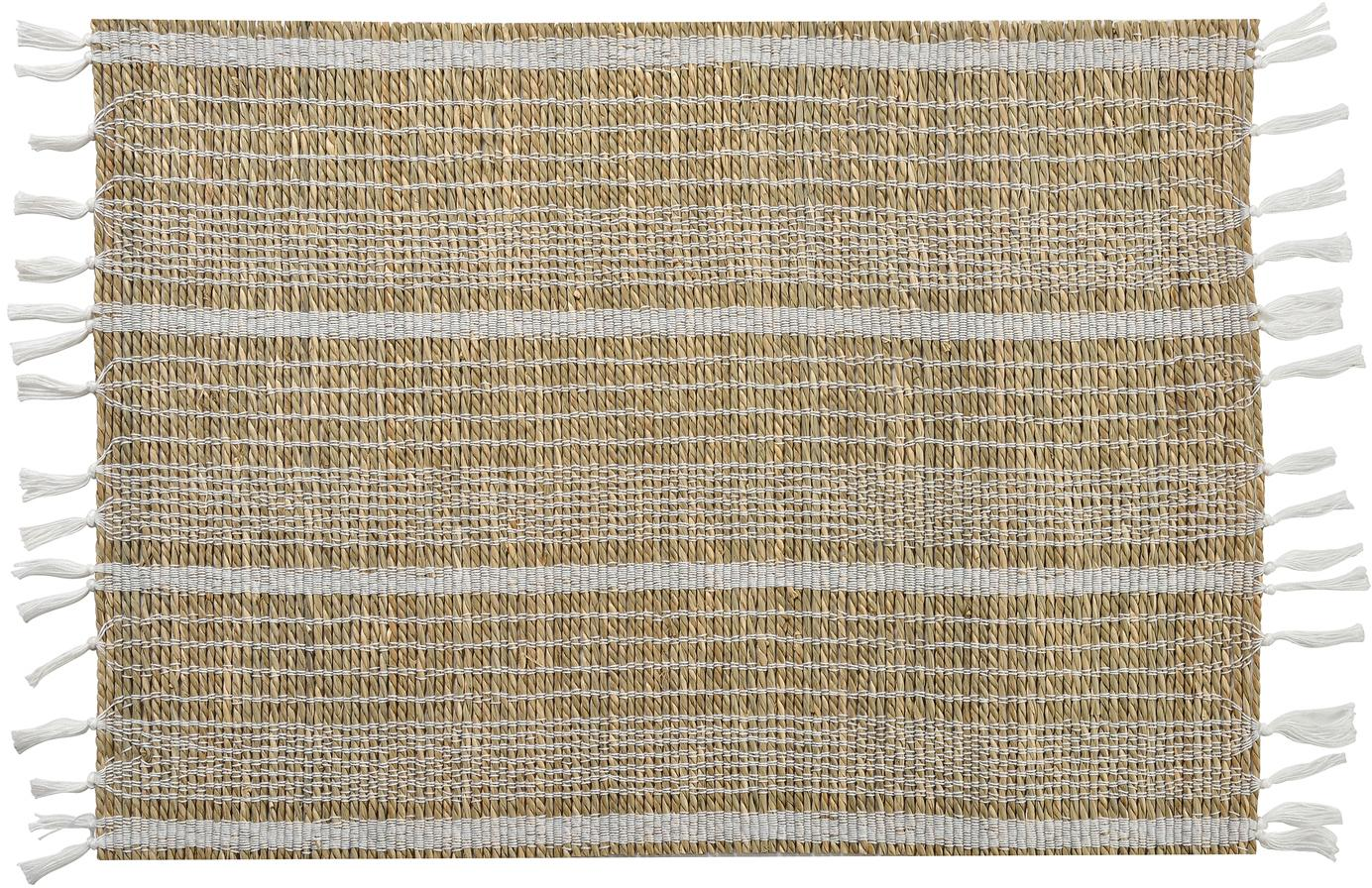Seegras-Tischset Gausus, 4 Stück, Beige, Weiß, 33 x 45 cm