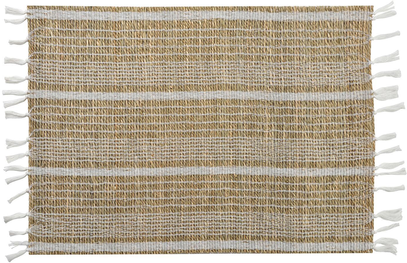 Zeegras placemats Gausus, 4 stuks, Beige, wit, 33 x 45 cm