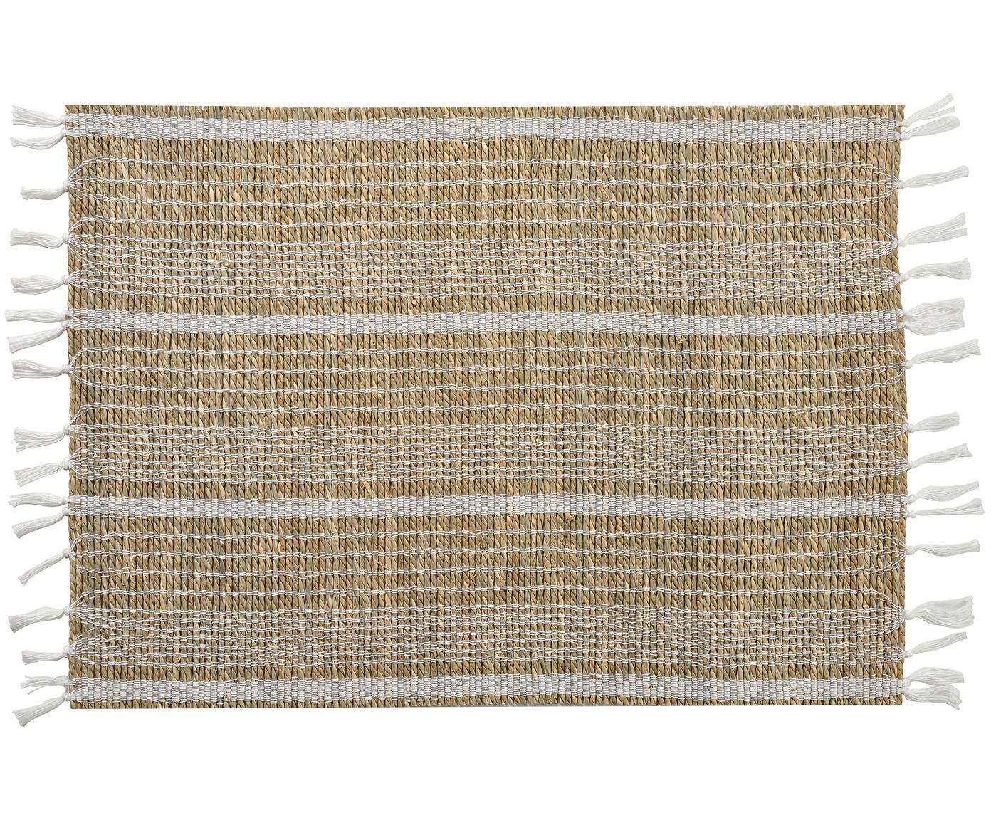 Seegras-Tischset Gausus, 4 Stück, Beige, Weiss, 33 x 45 cm