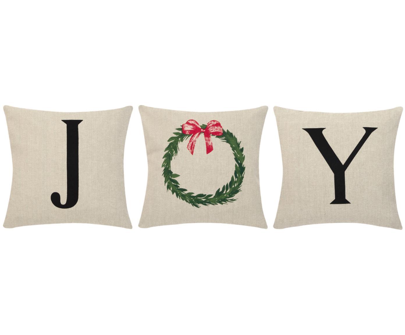 Kussenhoezenset Joy, 3-delig, 100% katoen, Beige, zwart, 40 x 40 cm