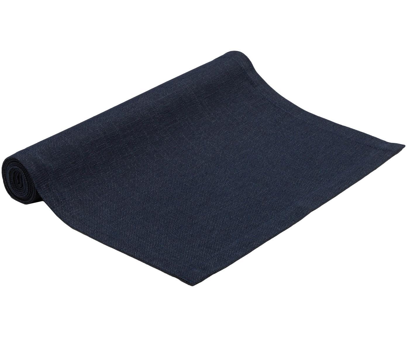 Camino de mesa Riva, 55%algodón, 45%poliéster, Azul oscuro, An 40 x L 150 cm