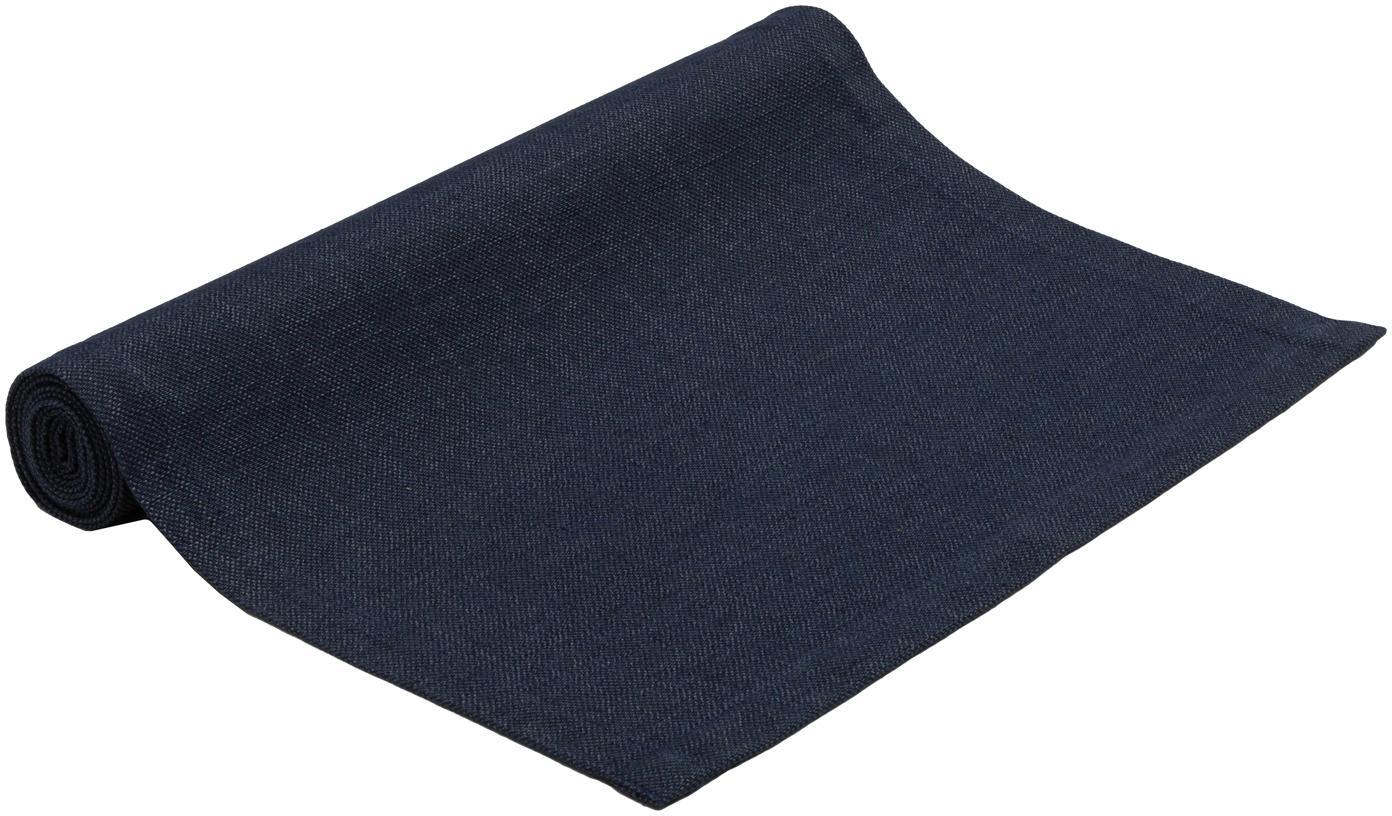 Runner da tavolo Riva, 55% cotone, 45% poliestere, Blu scuro, Larg. 40 x Lung. 150 cm