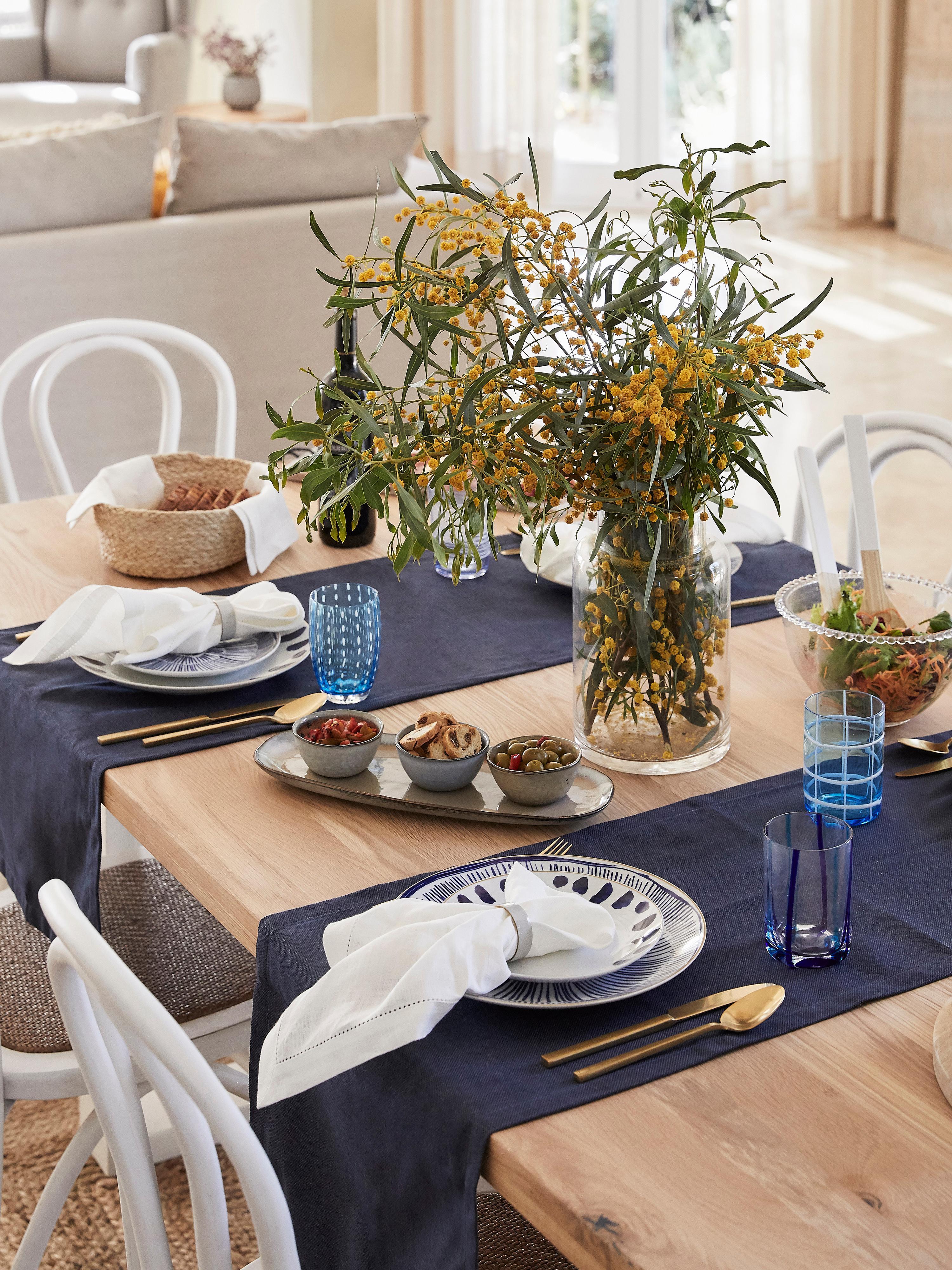 Tischläufer Riva, 55%Baumwolle, 45%Polyester, Dunkelblau, 40 x 150 cm