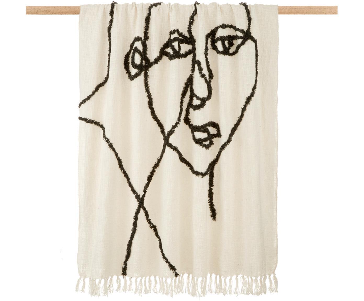 Plaid con disegno astratto Face, 100% cotone, Avorio, nero, Larg. 130 x Lung. 170 cm