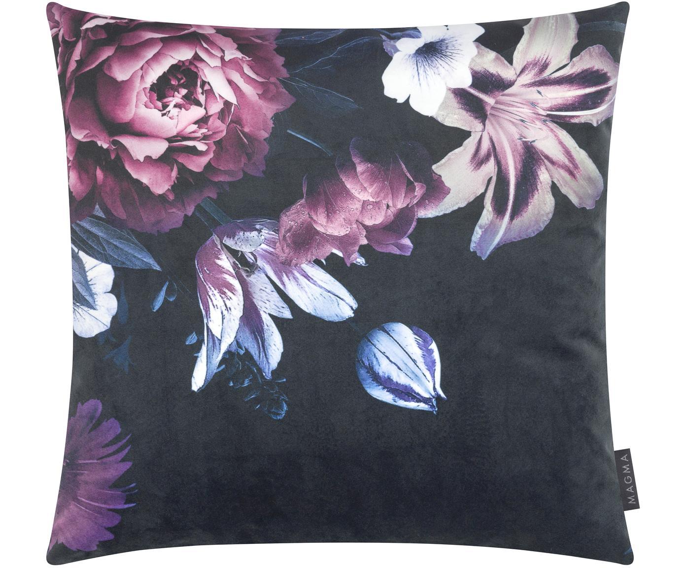 Federa arredo con motivo floreale Beverly, Velluto di poliestere, stampata, Nero, malva, lilla, rosa, Larg. 50 x Lung. 50 cm